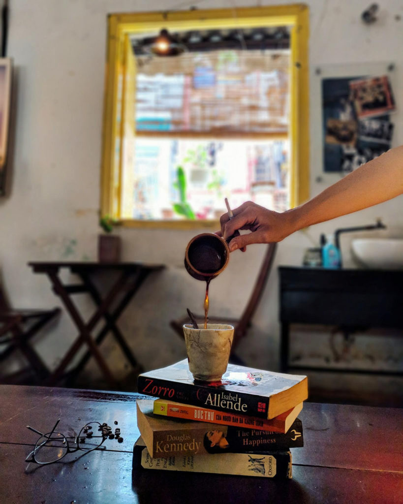 coffee pouring in Things Cafe, Saigon